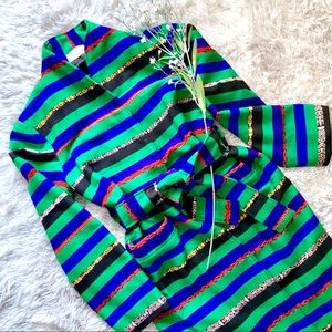 Jackets & Blazers - Multicolor Stripe Belted Jacket - Vintage Handmade